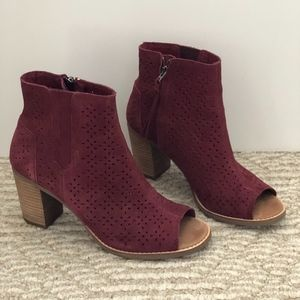 TOMS Perforated Open Toe Suede Booties